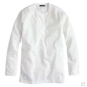 J.Crew White Collarless Poplin Popover Shirt